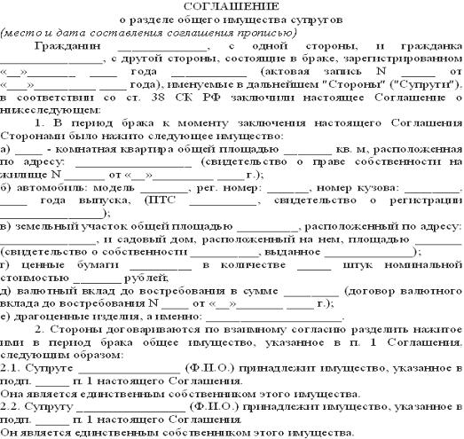 Соглашение о разделе долей земельного участка образец
