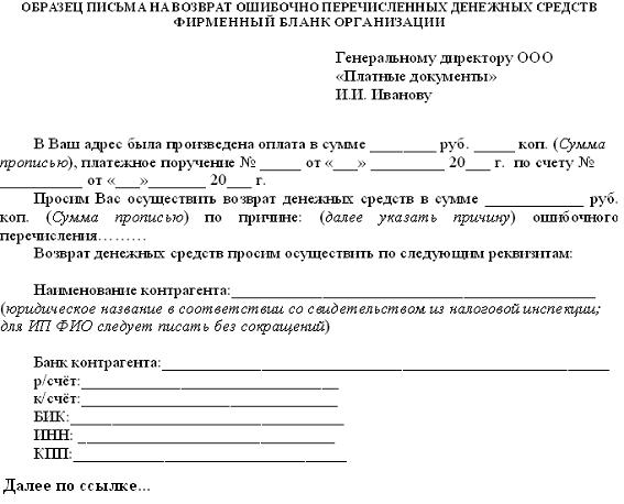 образец письма в организацию о возврате денежных средств получить деньги на карту онлайн