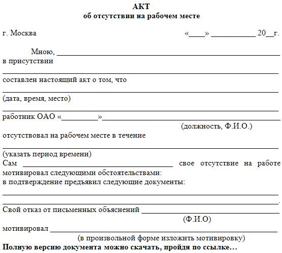 Акт об отсутствии работника на рабочем месте образец скачать бесплатно