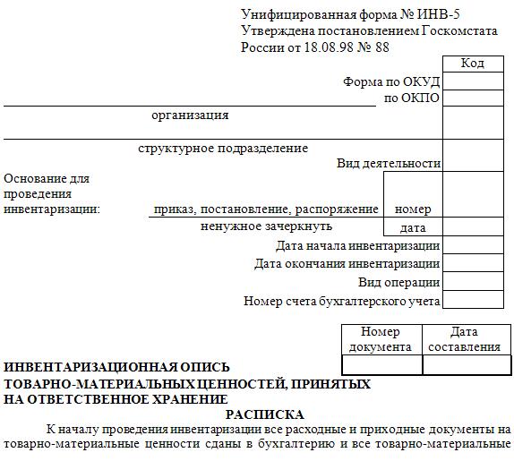 Приказ по инвентаризации материальных ценностей образец 2015