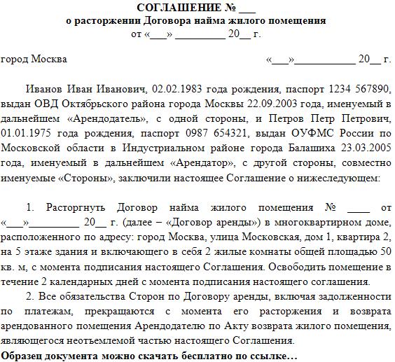 образец соглашения о расторжении договора