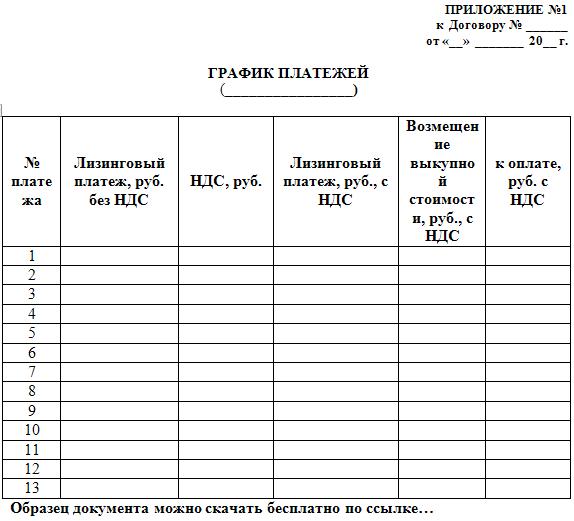 график платежей по договору аренды нежилого помещения
