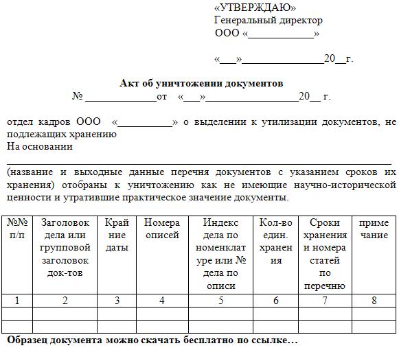 акты уничтожения документов образец - фото 8