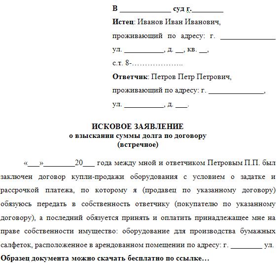 Встречный Иск Образец По Гражданскому Делу По Кредиту img-1