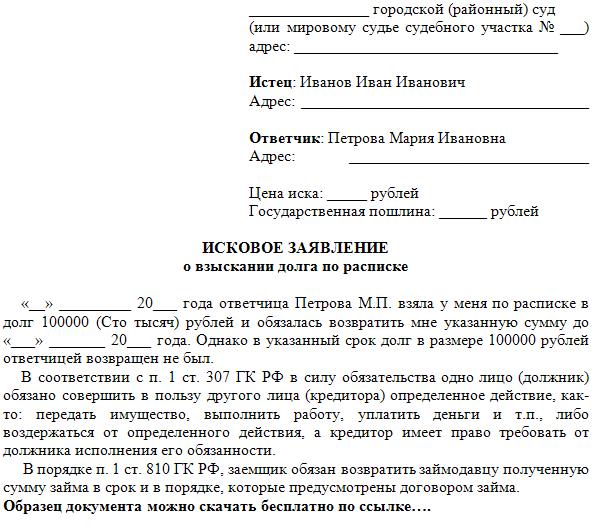 Исковое заявление о взыскании долга по расписке образец скачать бесплатно