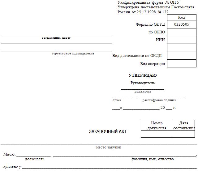 бланк закупочный акт скачать - фото 6